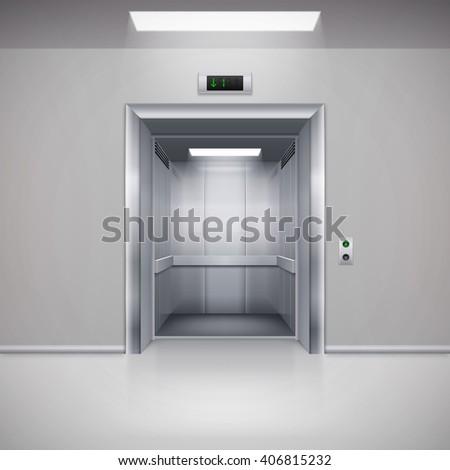 Realistic Empty Modern Elevator with Open Door - stock vector
