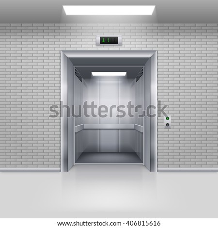 Realistic Empty Modern Elevator with Open Door in a Brick Wall - stock vector
