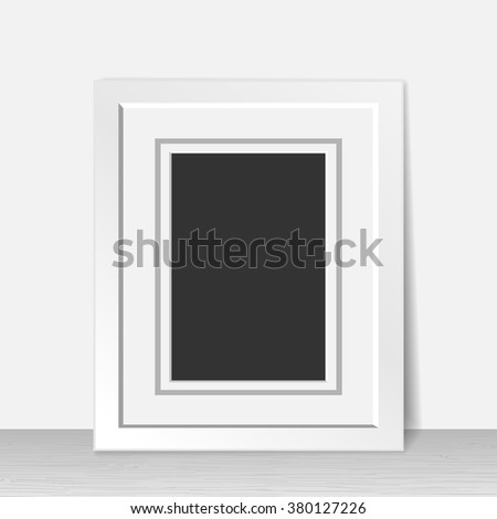 Realistic empty white frame on wooden floor - stock vector