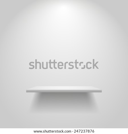 Realistic empty white shelf hanging on a wall
