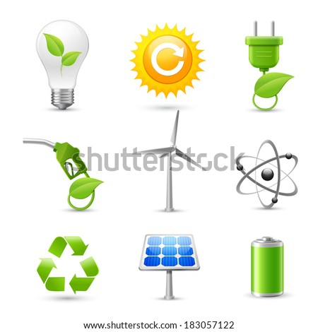 Realistic energy and ecology icons set with fossil gas solar panel and windmill decorative elements isolated vector illustration - stock vector