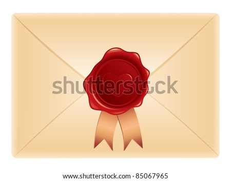 realistic envelope with wax stamp on white background - stock vector