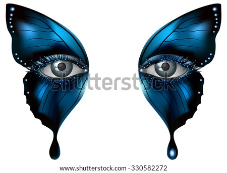 Realistic female eye close up artistic makeup - blue butterfly wings - stock vector