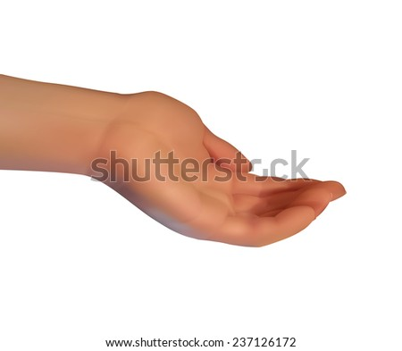 realistic female hand with a pencil isolated, vector - stock vector