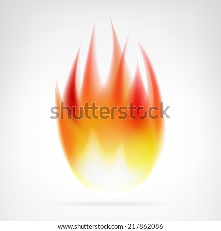 realistic fire flame isolated vector element illustration - stock vector