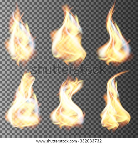 Realistic fire flames vector on transparent background - stock vector