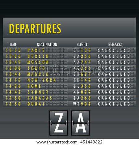 Realistic flip scoreboard flight template - stock vector