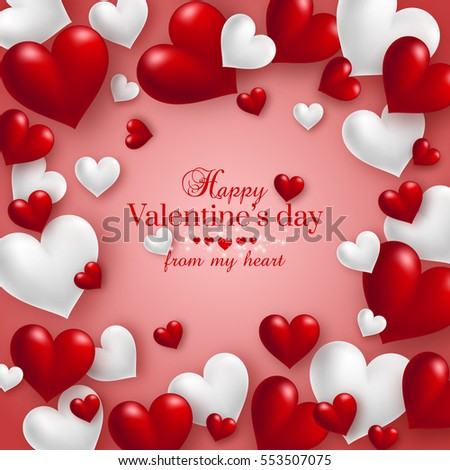 Realistic Floating 3d Valentine Hearts Red Stock Vector 553507075 ...