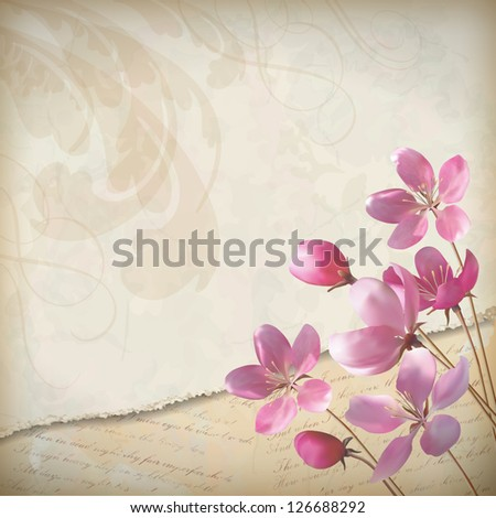 Realistic floral vector spring design with elegant pink blooming flowers, ragged edge of old paper sheet, decorative elements and classic calligraphic text on vintage, grunge background in retro style - stock vector