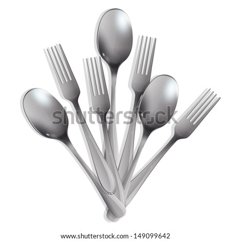 Realistic fork and spoon over white background. Vector design.  - stock vector