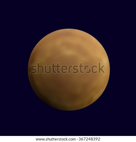 Realistic full mercury in the dark blue sky. Detailed texture of a planet with craters. Astronomy, astrology concept. Gradient mesh vector illustration for your design and business.