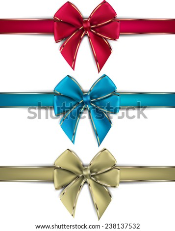 Realistic gift bows on white background. Vector illustration.  - stock vector