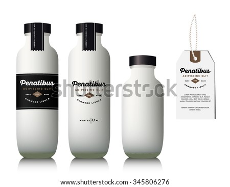 Realistic glass milk bottle. Mock up container. Package for drink with design label. - stock vector