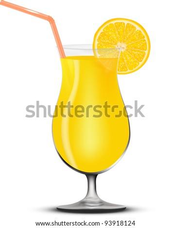 Realistic glass of orange juice - stock vector