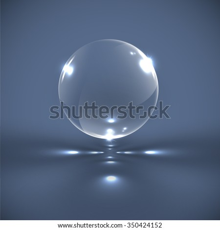 Realistic glass sphere, vector - stock vector