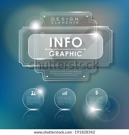 realistic glass vector illustration infographics elements design - stock vector