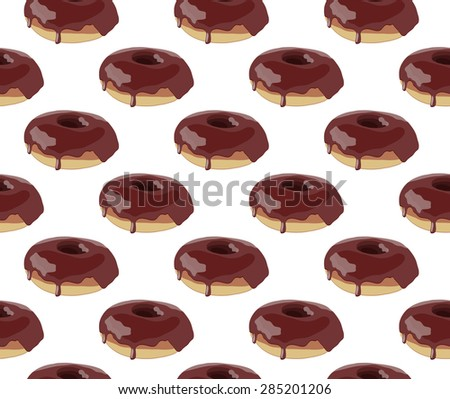 Realistic glossy glazed donut vector seamless pattern  - stock vector