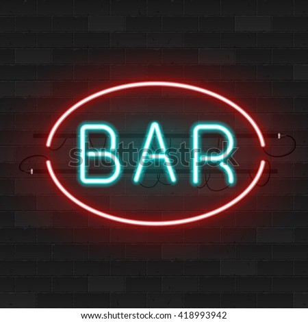 Realistic glowing neon signs. Vector 3D illustration
