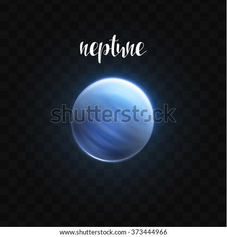 Realistic glowing Neptune planet Isolated. Glow with transparency on black background. Lighting effects. Glowing planet. Realistic space object. Universe. Solar system. Planet for design. Space - stock vector