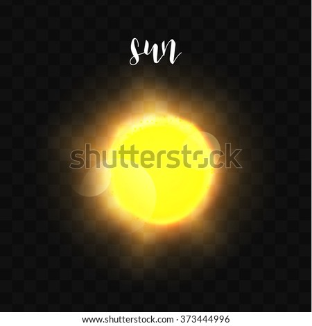 Realistic glowing Sun planet Isolated. Glow with transparency on black background. Lighting effects. Glowing planet. Realistic space object. Universe. Solar system. Planet for design. Space - stock vector