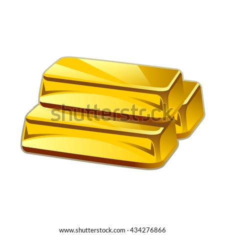 Realistic gold bars isolated on white background - stock vector