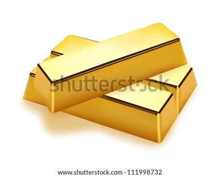 Realistic gold bars on white background - stock vector