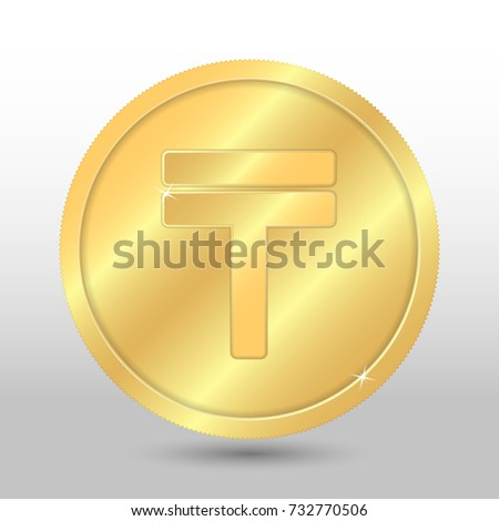 Realistic gold coin with tenge sign. Vector coin on gray background