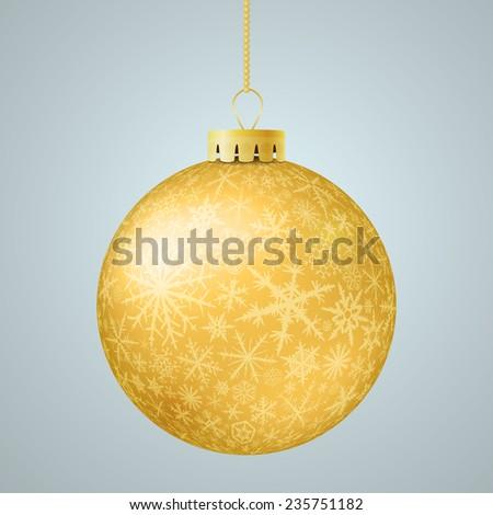 Realistic gold vector Christmas ball. - stock vector