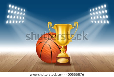 Realistic Golden Trophy Cup and Basketball Ball on Basketball Court. Winner Cup. Vector Illustration - stock vector