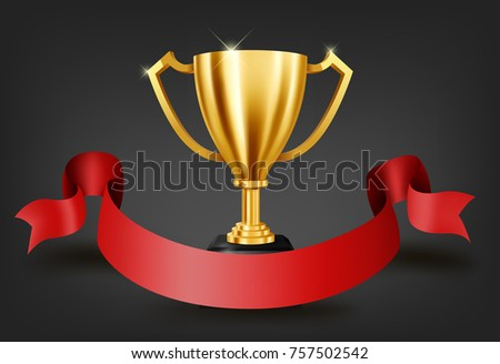 Realistic Golden Trophy Text Space On Stock Photo Photo Vector