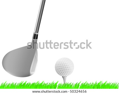 Realistic golf driver club  with ball on tee - stock vector
