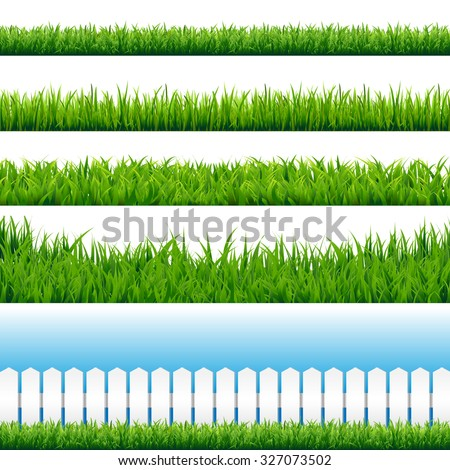 Realistic Grass Borders, Vector Illustration - stock vector