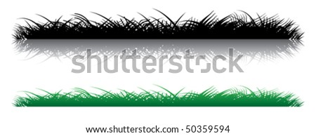 Realistic grass on a white background. Several options for illustration.