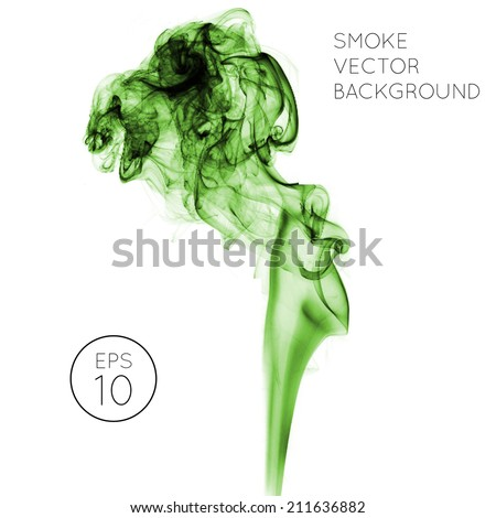 Realistic green vector smoke on white background. smoke from a cigarette or smoldering objects - stock vector