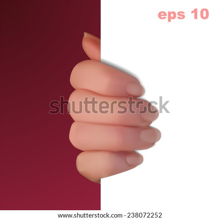 realistic hand holding a white background - stock vector