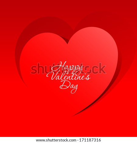 Realistic Heart cut out of paper. Valentine's day or Wedding vector background