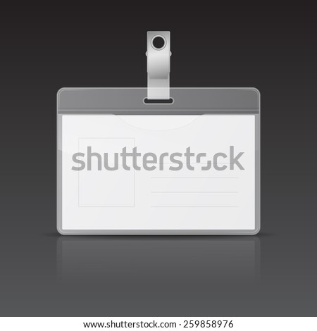 Realistic horizontal ID card with reflection on black background. Vector EPS10 illustration.