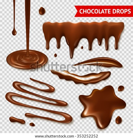 Realistic hot chocolate splashes on transparent background isolated vector illustration  - stock vector