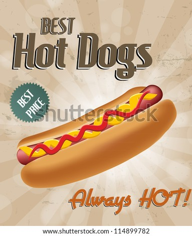 Realistic hot dog vector illustration. EPS 10. - stock vector
