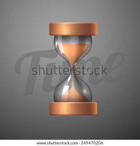 Realistic hourglass. Sand clock icon 3d style vector illustration. - stock vector