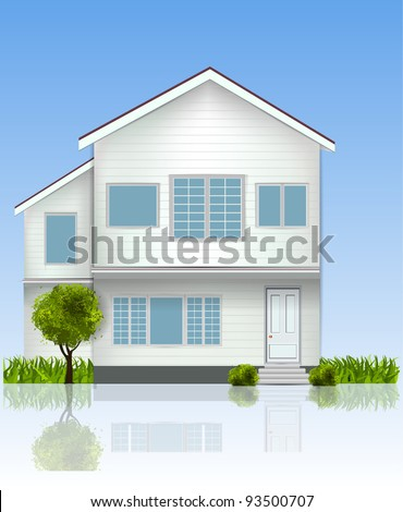 Realistic House Illustration with blue sky and trees - stock vector