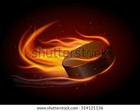 Realistic ice hockey puck in fire on black background vector illustration - stock vector