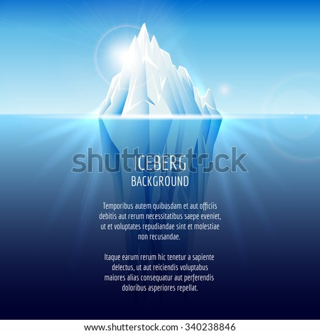 Realistic iceberg on water. Antarctic landscape, nature ocean, snow and ice, vector illustration - stock vector