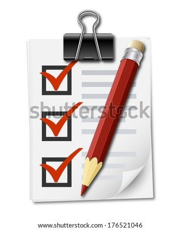 Realistic icon of checklist with binder clip and pencil - stock vector