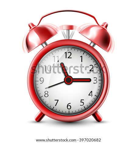 Realistic Icon ringing alarm clock. Isolated on white background. Stock vector illustration. - stock vector