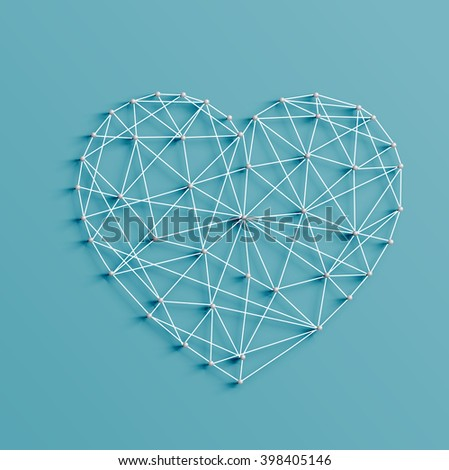 Realistic illustration of a heart made by pins and strings, vector - stock vector