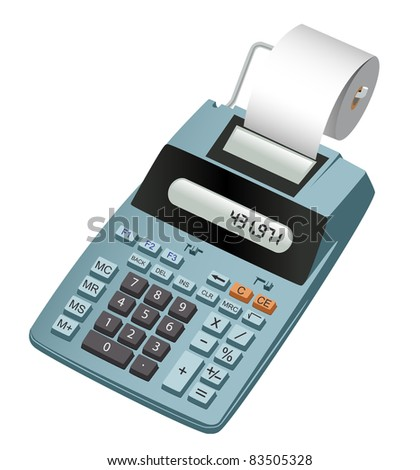 Realistic illustration of an electronic calculator with paper roll. Isolated on white - stock vector