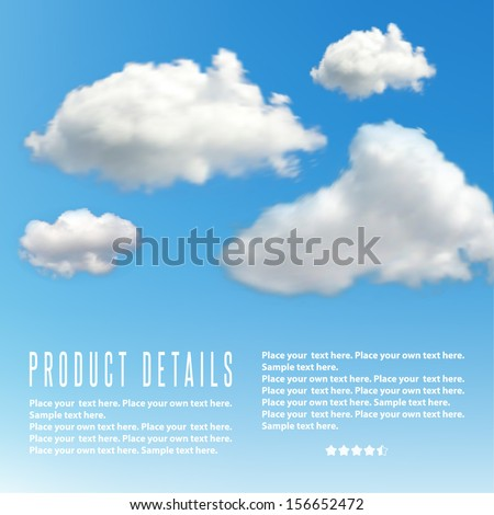 Realistic illustration of blue sky with clouds.  - stock vector