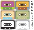 Realistic illustration of colorful radio cassettes tapes - stock photo