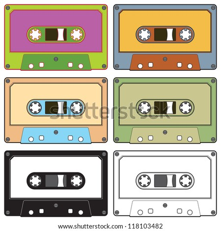 Realistic illustration of colorful radio cassettes tapes